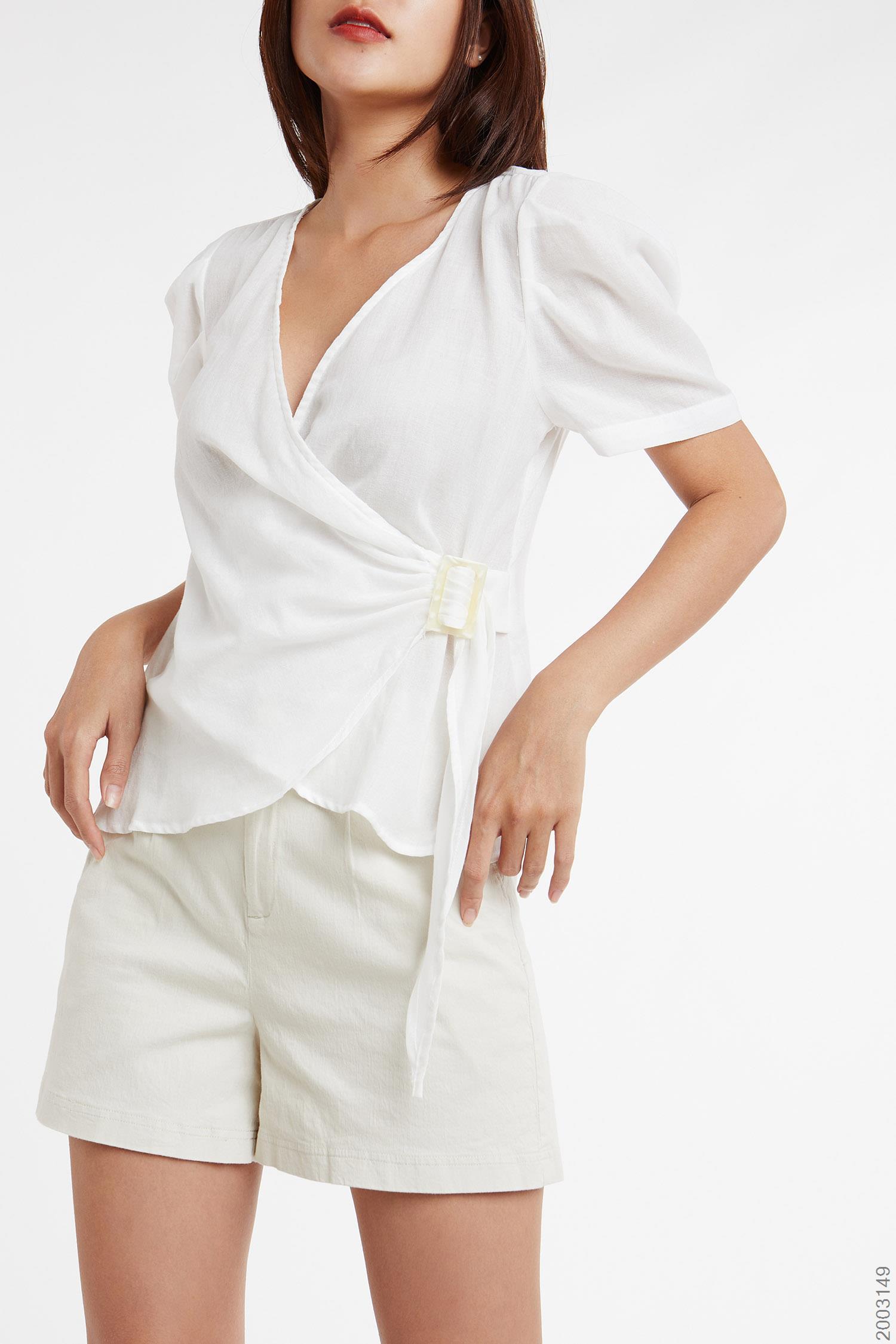 Áo Kiểu Nữ Đắp Vạt Chéo Tay Phồng Ngắn - 2003149